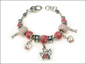 Silver and Light Pink Beaded Charm Bracelet with Pink Ribbon Angel Charms