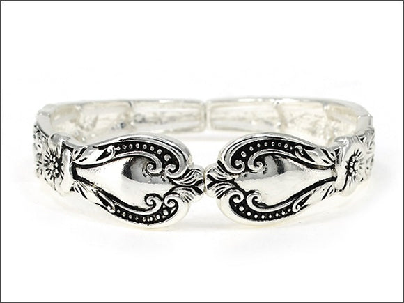Silver Swirl Spoon Design Stretch Bracelet ( 06047 )