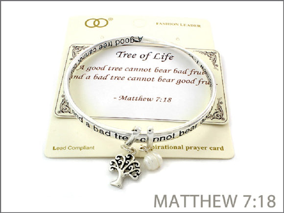 TWO TONED INSPIRATIONAL BANGLE WITH MATTHEW 7:18 TREE OF LIFE ( 06969 )