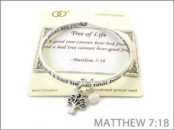 TWO TONED INSPIRATIONAL BANGLE WITH MATTHEW 7:18 TREE OF LIFE ( 06969 ) - Ohmyjewelry.com