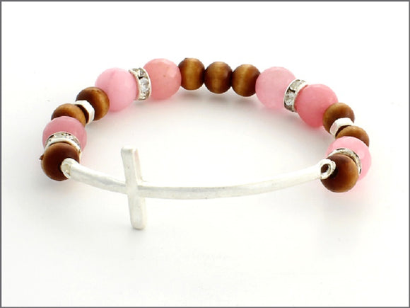 PINK AND BROWN STRETCH BRACELET WITH SILVER CROSS ( 07031 )