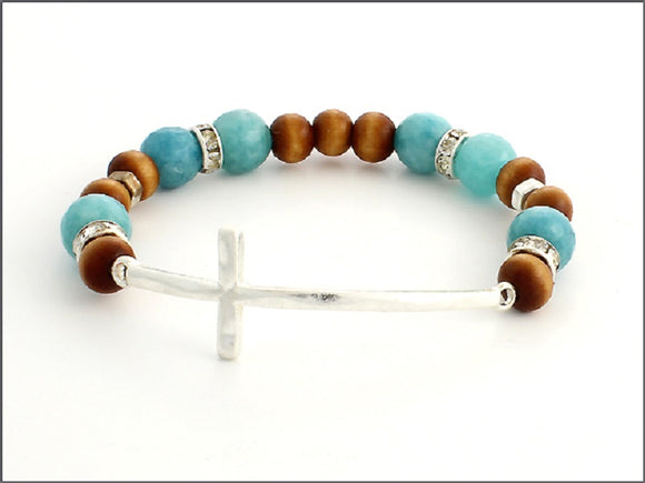 TURQUOISE AND BROWN STRETCH BRACELET WITH SILVER CROSS ( 07031 )