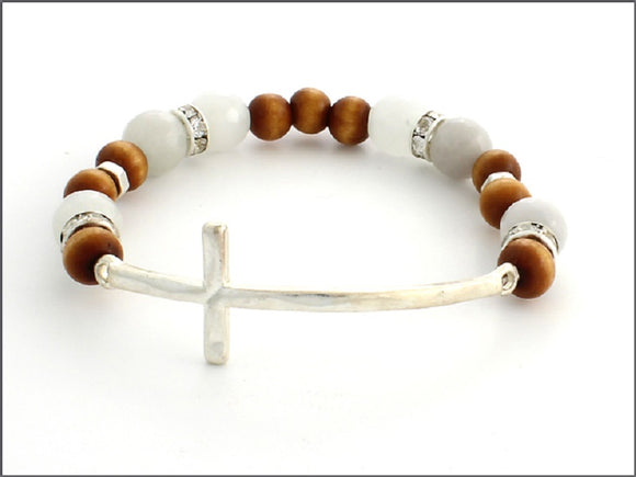 WHITE AND BROWN STRETCH BRACELET WITH SILVER CROSS ( 07031 )