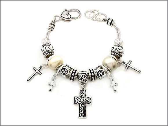 Silver and White Pearl Beaded Cross Theme Charm Bracelet