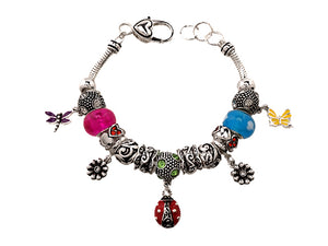Multi Color Beaded Ladybug and Butterfly Charms Bracelet