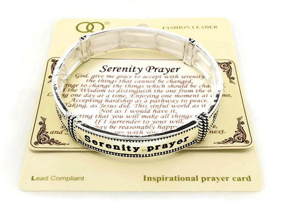 Silver Serenity Prayer Stretch Bracelet