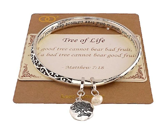 INSPIRATIONAL SILVER BANGLE WITH MATTHEW 7:18 TREE OF LIFE ( 07553 ) - Ohmyjewelry.com