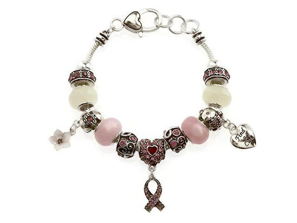 Pink Rhinestone, Pink, and Silver Beaded Charm Bracelet with Rhinestone Pink Ribbon Charms ( 07619 )