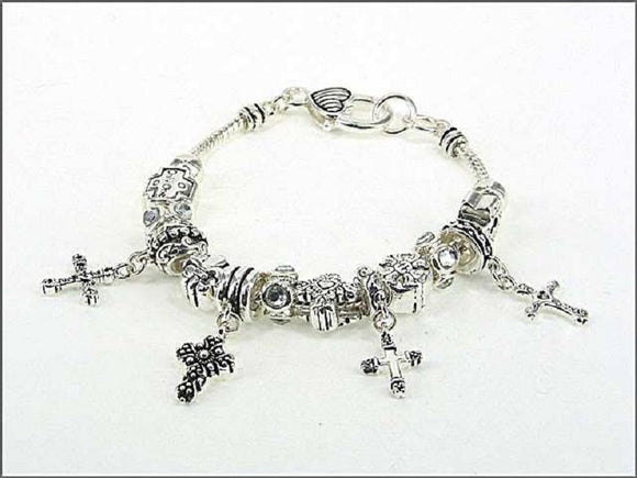 Silver Beaded Cross Theme Charm Bracelet ( 01026 AS ) - Ohmyjewelry.com
