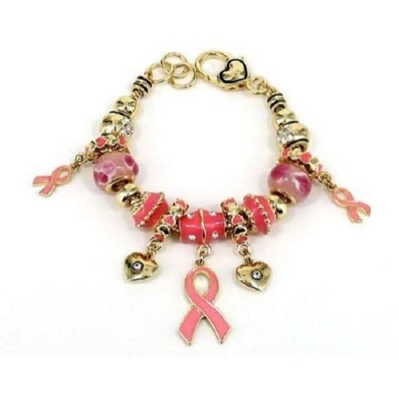 Gold and Enamel Pink Beaded Charm Bracelet with Pink Ribbon and Heart Charms