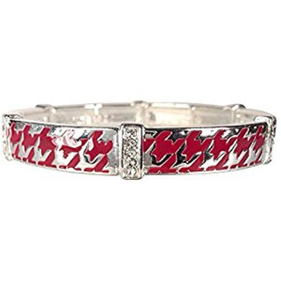 Red Houndstooth Design Stretch Bracelet with Clear Rhinestones