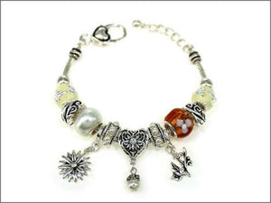 Silver and Multi Color and Pearl Beaded Leaf and Flower Theme Charm Bracelet