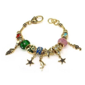 Gold and Multi Color Sea Life Theme Charm Bracelet