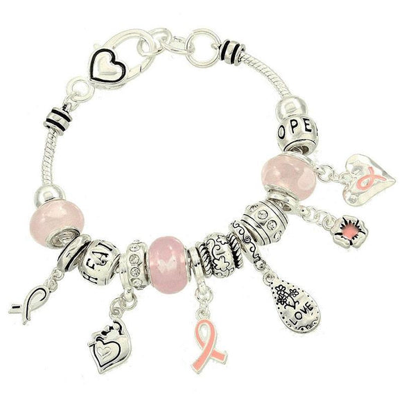 Silver and Pink Beaded Charm Bracelet with Pink Ribbon Charms ( 06054 )