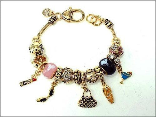 Gold and Multi Color Beaded Shopping Accessories Theme Charm Bracelet