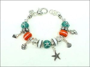 Silver Teal and Orange Beaded Sea Life Theme Charm Bracelet