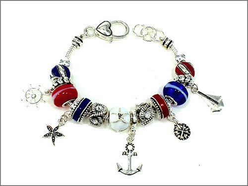 Silver and Red, White, and Blue Beaded Nautical Sea Theme Charm Bracelet