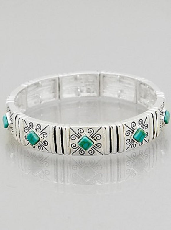 Simple Turquoise and Silver Design Stretch Bracelet ( 06757 )