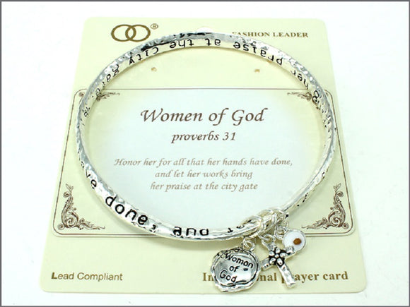 Twisted Silver Bangle with Women of God Proverbs 31 Inspirational Message ( 06781 )