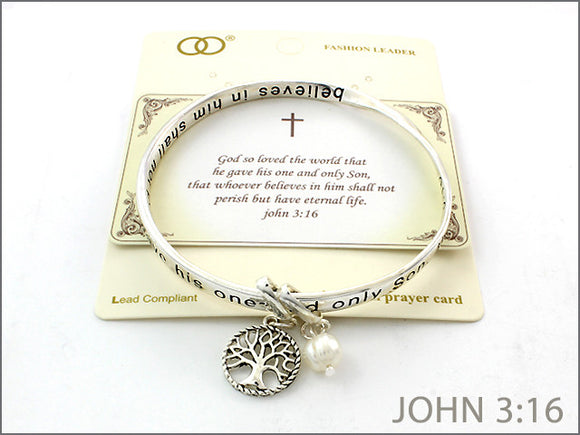 Inspirational Bangle with Tree of Hope Charm and John 3:16 Prayer Card