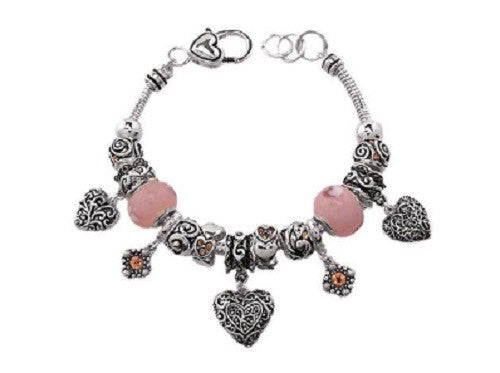 Silver and Pink Heart Theme Charm Bracelet