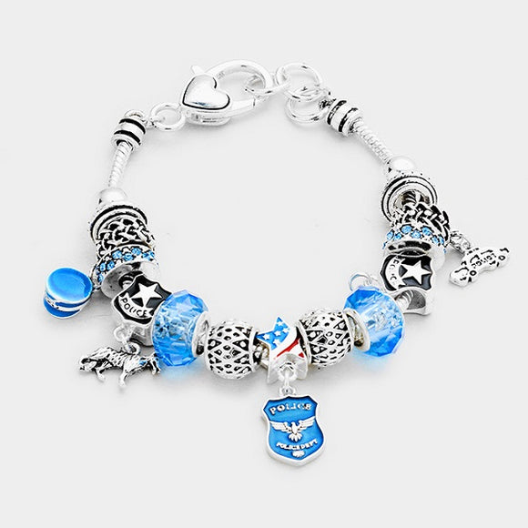 Silver and Blue Beaded Police Theme Charms Bracelet ( 07662 )
