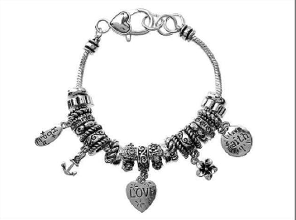 Silver Beaded Love Hope and Faith Hearts Charm Bracelet ( 07664 )
