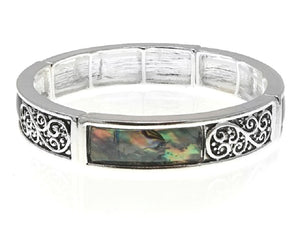 Silver Abalone Filigree Design Stretch Bracelet ( 08165 )
