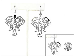 Laser Cut Light Weight Silver Elephant Dangle Earrings