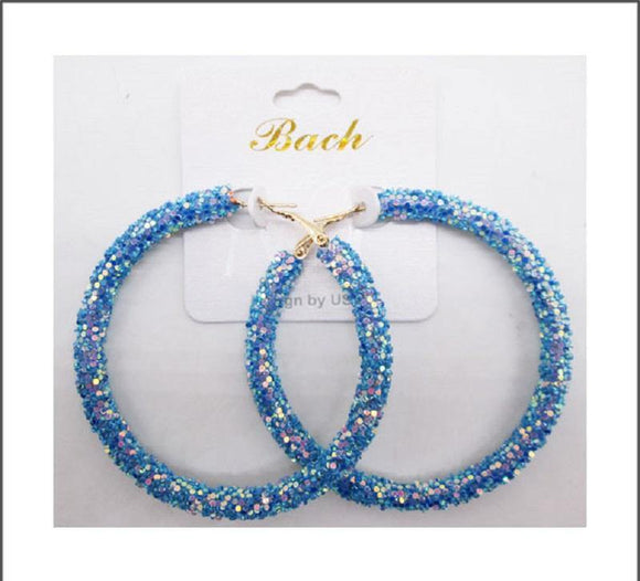 BLUE SEQUIN HOOP EARRINGS ( 60 )