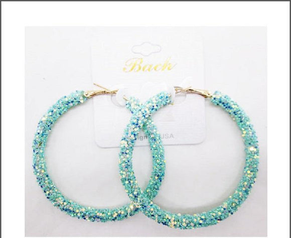 LIGHT GREEN SEQUIN HOOP EARRINGS ( 60 )