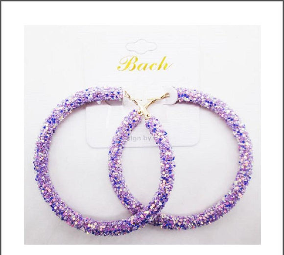 LIGHT PURPLE SEQUIN HOOP EARRINGS ( 60 )