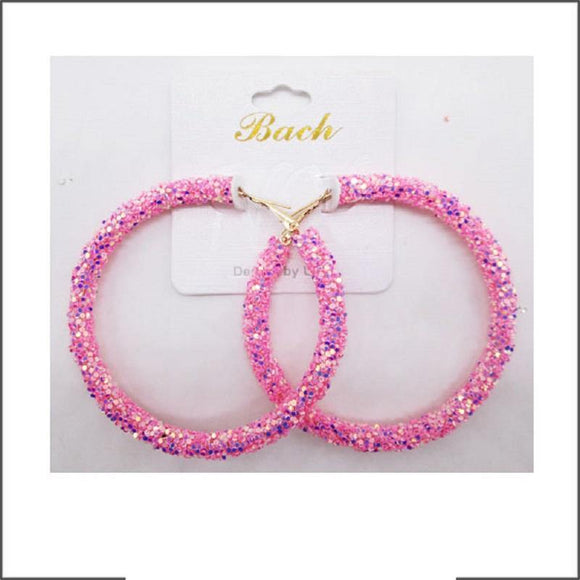 PINK AB SEQUIN HOOP EARRINGS ( 60 )