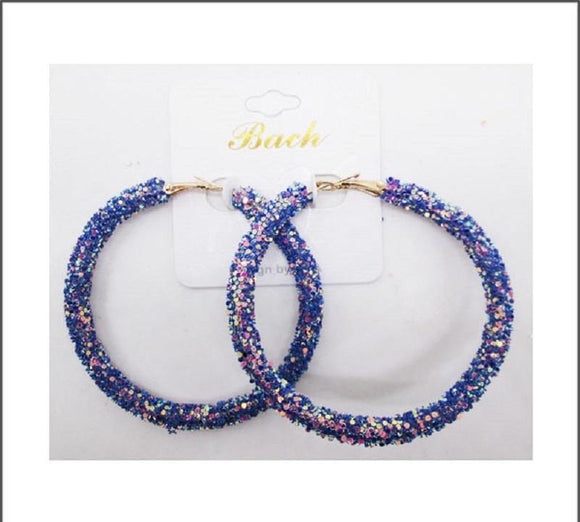 ROYAL BLUE SEQUIN HOOP EARRINGS ( 60 )
