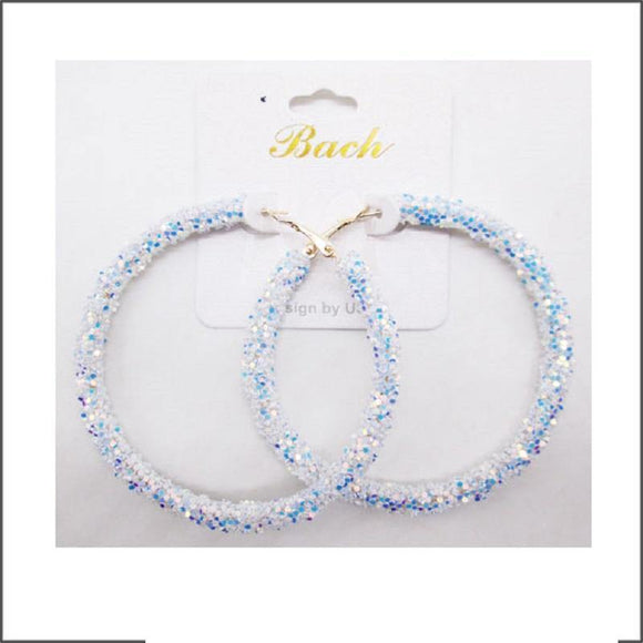WHITE AB SEQUIN HOOP EARRINGS ( 60 )