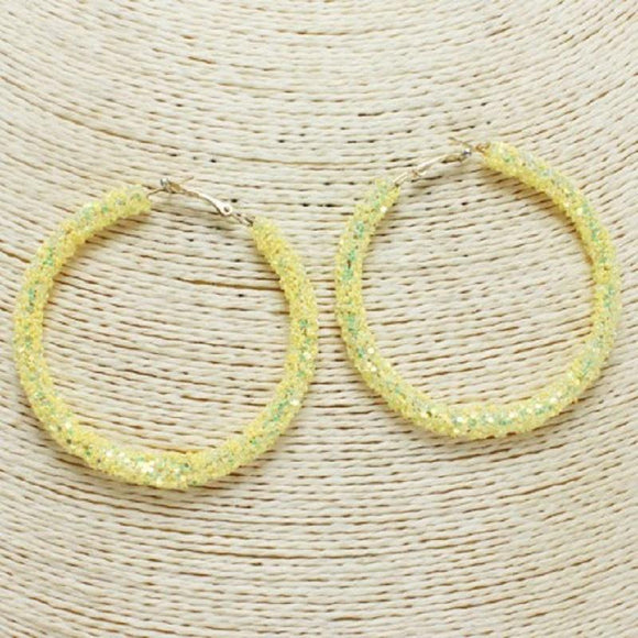 YELLOW SEQUIN HOOP EARRINGS ( 60 )