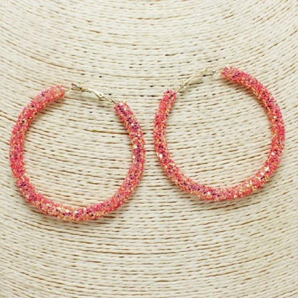 CORAL SEQUIN HOOP EARRINGS ( 60 )