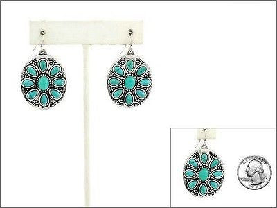 Oval Burnish Silver and Turquoise Dangling Earrings