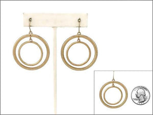 Matte Gold 2 Layer Circle Cut Out Fish Hook Earrings ( 1952 )