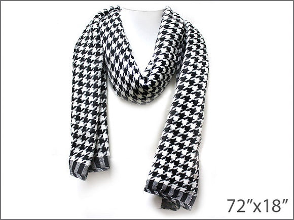 Black and White Houndstooth Scarf ( 0007 )