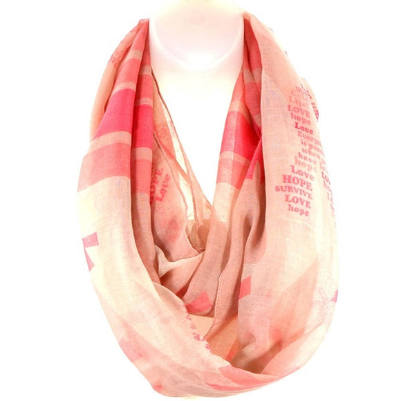 Hope Love Survive Pink Ribbon Scarf