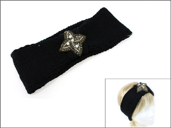 BLACK CLEAR GOLD KNIT HEAD BAND ( 0352 )
