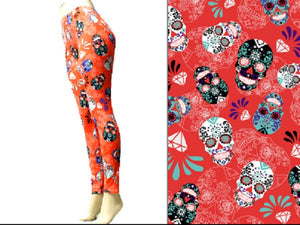 Coral Sugar Skull Leggings