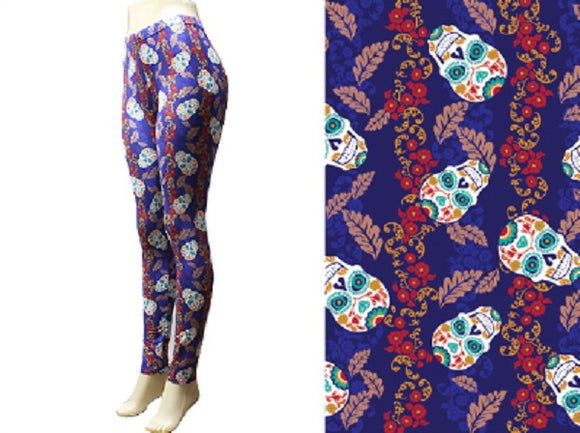 Navy Blue Sugar Skull Leggings