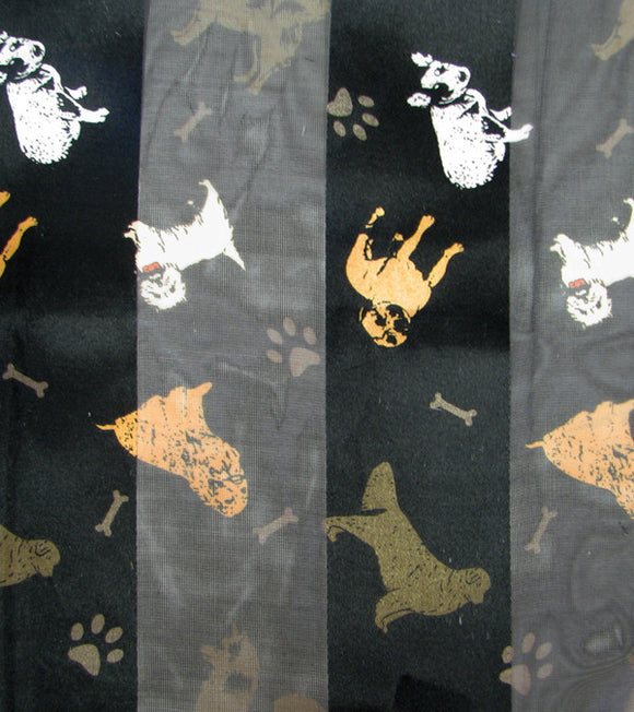 Black Satin Scarf with Dog Theme ( 1536 )