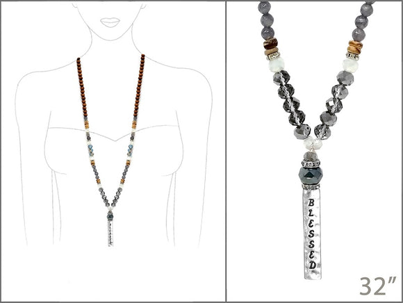 LONG BROWN WOOD CRYSTAL NECKLACE BLESSED ( 2655 WSMUL )