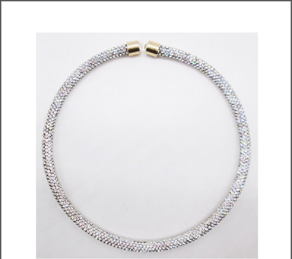 CLEAR COLOR RHINESTONE PAVE OPEN GOLD CHOKER ( 01 )