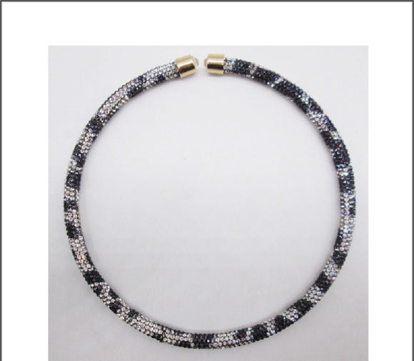 BLACK AND WHITE LEOPARD PRINT RHINESTONE PAVE OPEN CHOKER ( 01 )