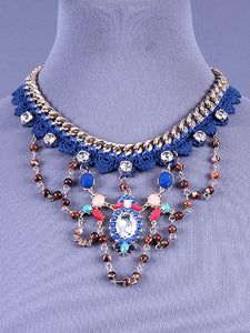 Blue Crochet Necklace with Multi Color Stones on Gold Chain ( 0860 )