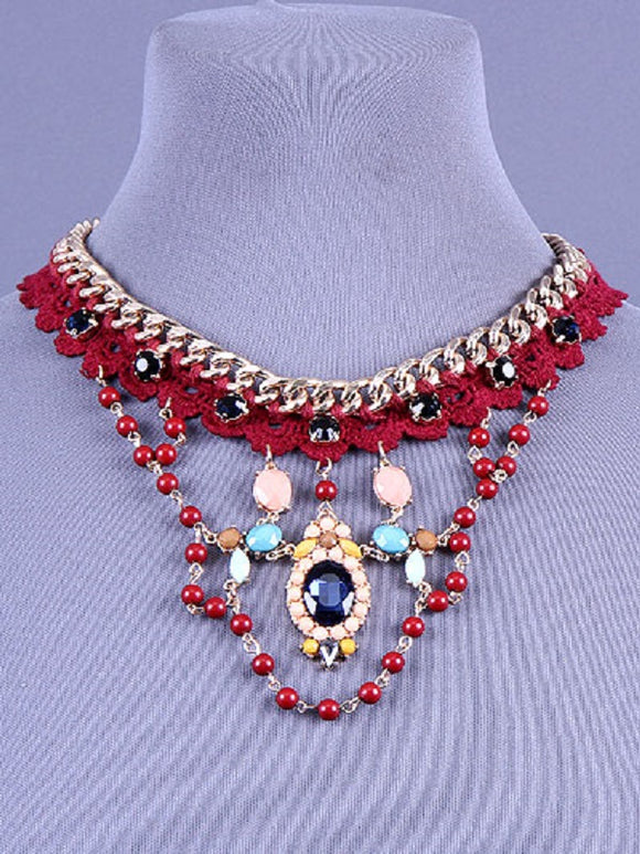 Burgundy Red Crochet Necklace with Multi Color Stones on Gold Chain ( 0860 )
